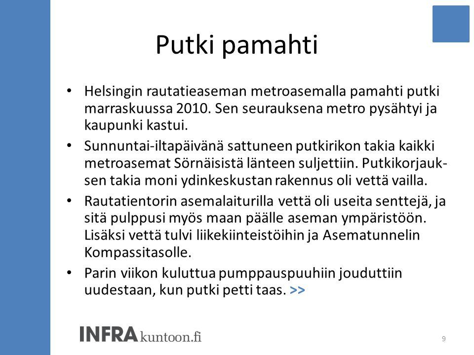 Putki pamahti Helsingin rautatieaseman metroasemalla pamahti putki marraskuussa 2010. Sen seurauksena metro pysähtyi ja kaupunki kastui.