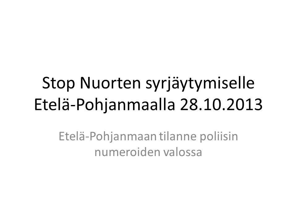 Stop Nuorten syrjäytymiselle Etelä-Pohjanmaalla 28.10.2013
