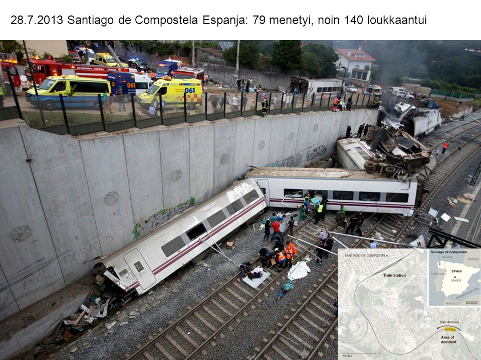 28.7.2013 Santiago de Compostela Espanja: 79 menetyi, noin 140 loukkaantui