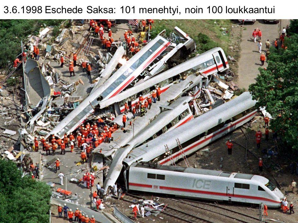 3.6.1998 Eschede Saksa: 101 menehtyi, noin 100 loukkaantui
