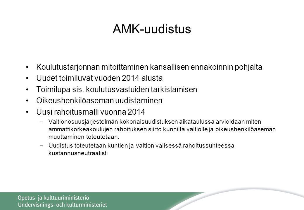 AMK-uudistus Koulutustarjonnan mitoittaminen kansallisen ennakoinnin pohjalta. Uudet toimiluvat vuoden 2014 alusta.