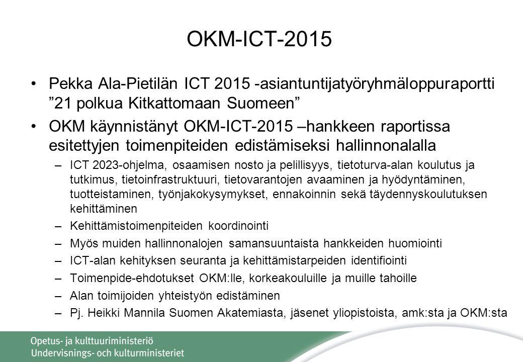 OKM-ICT-2015 Pekka Ala-Pietilän ICT 2015 -asiantuntijatyöryhmäloppuraportti 21 polkua Kitkattomaan Suomeen