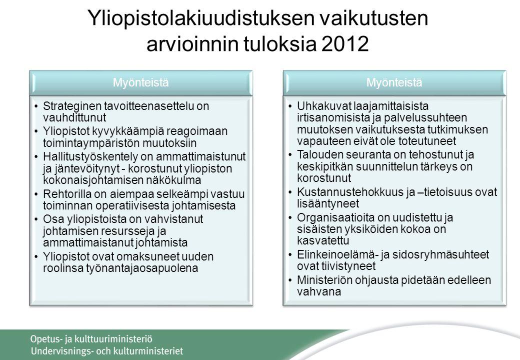 Yliopistolakiuudistuksen vaikutusten arvioinnin tuloksia 2012