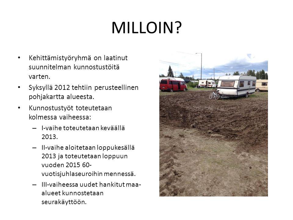 MILLOIN Kehittämistyöryhmä on laatinut suunnitelman kunnostustöitä varten. Syksyllä 2012 tehtiin perusteellinen pohjakartta alueesta.