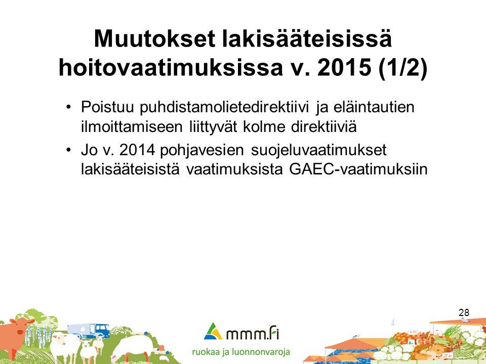 Muutokset lakisääteisissä hoitovaatimuksissa v. 2015 (1/2)
