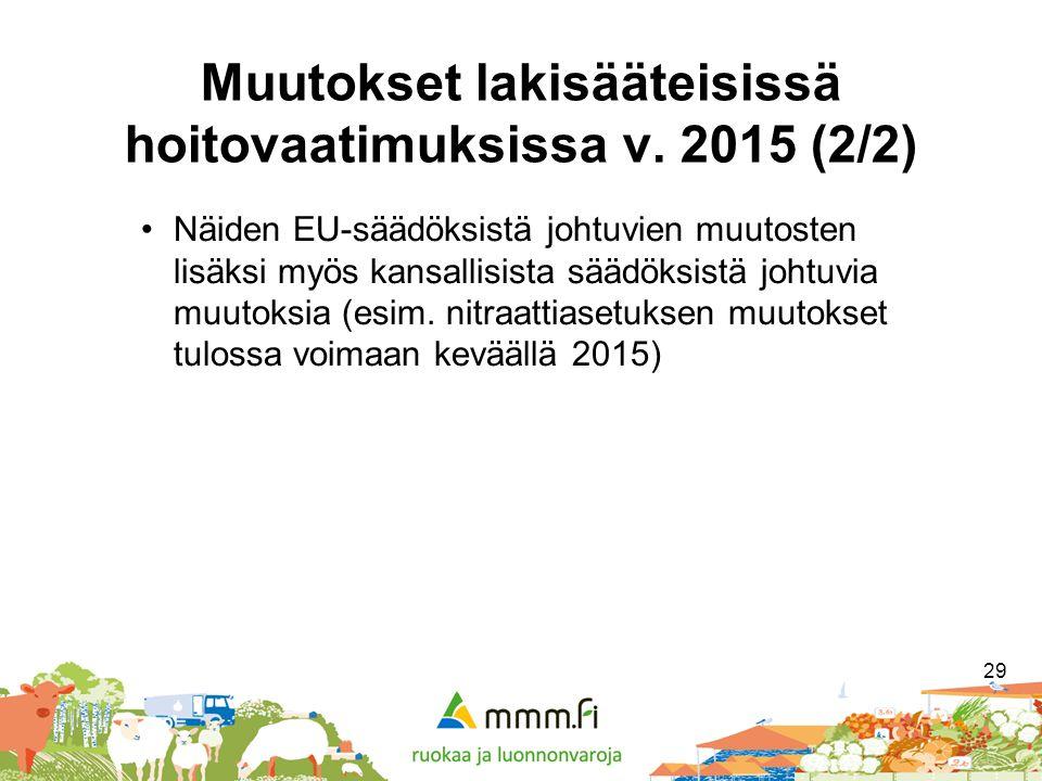 Muutokset lakisääteisissä hoitovaatimuksissa v. 2015 (2/2)