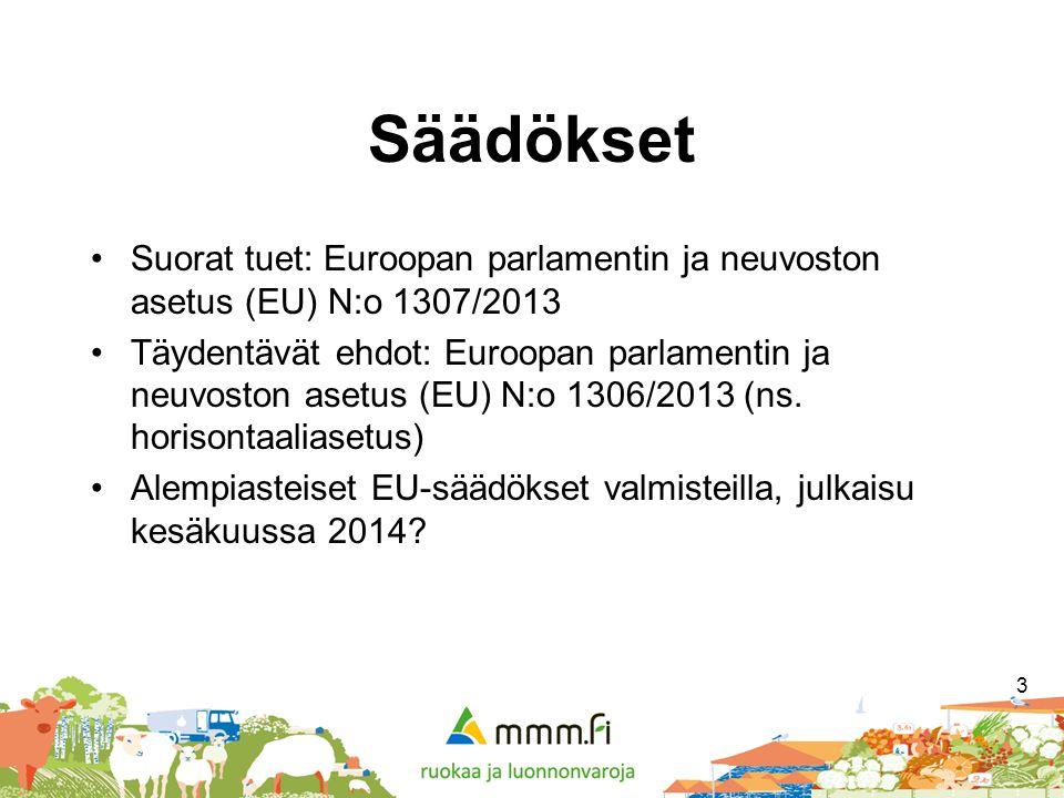 Säädökset Suorat tuet: Euroopan parlamentin ja neuvoston asetus (EU) N:o 1307/2013.