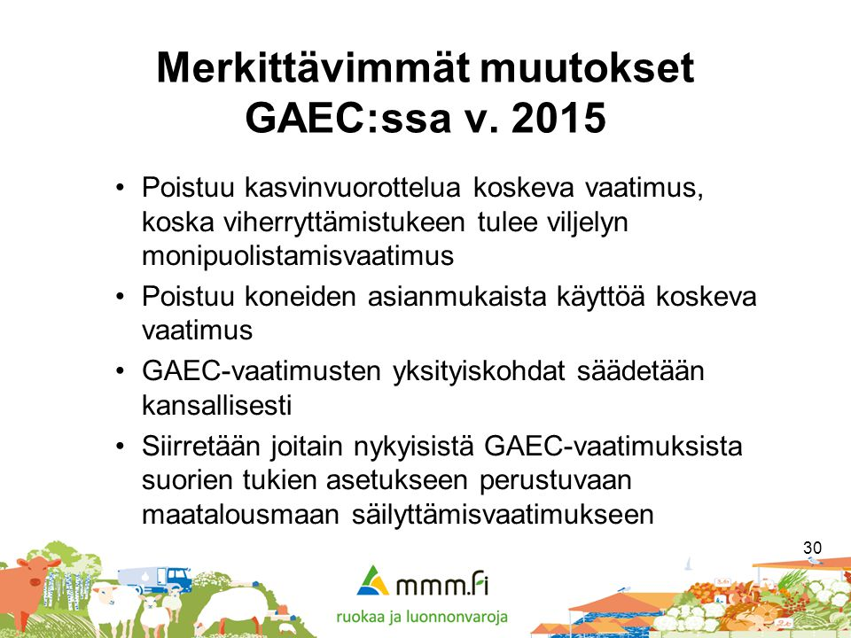 Merkittävimmät muutokset GAEC:ssa v. 2015