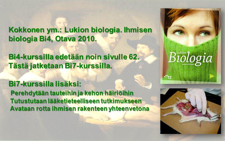 Kokkonen ym. : Lukion biologia. Ihmisen biologia Bi4, Otava 2010
