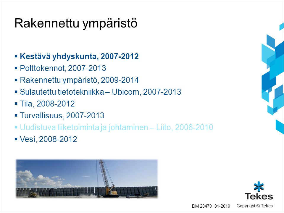 Rakennettu ympäristö Kestävä yhdyskunta, 2007-2012