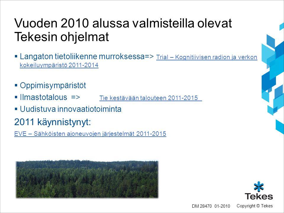 Vuoden 2010 alussa valmisteilla olevat Tekesin ohjelmat
