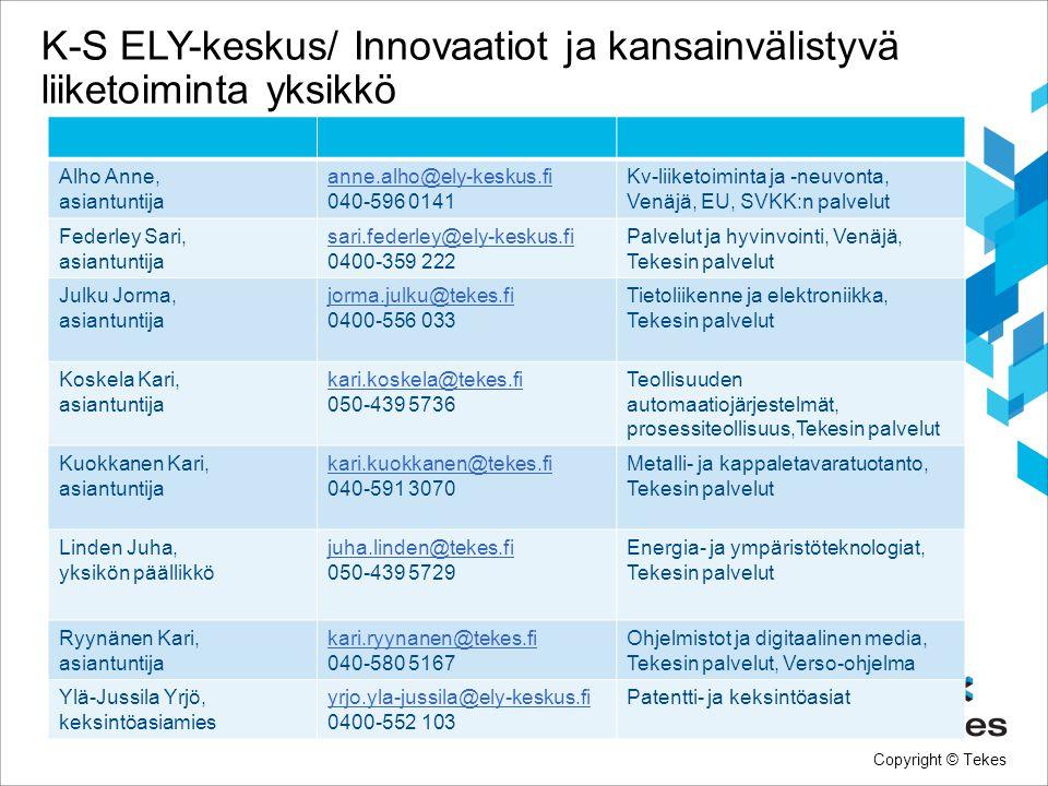 K-S ELY-keskus/ Innovaatiot ja kansainvälistyvä liiketoiminta yksikkö