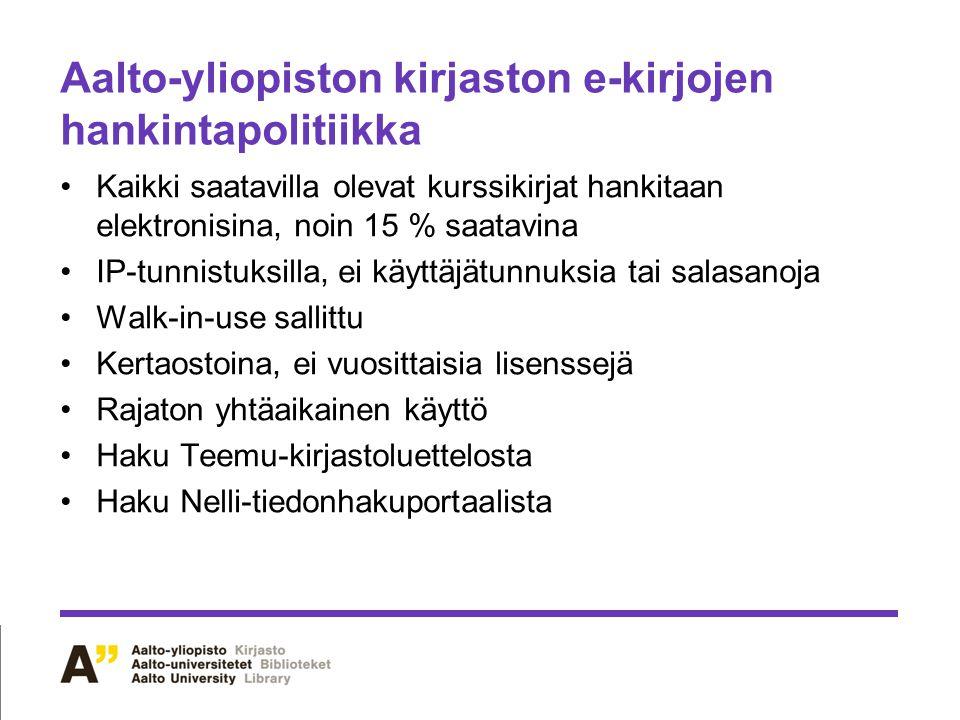 Aalto-yliopiston kirjaston e-kirjojen hankintapolitiikka