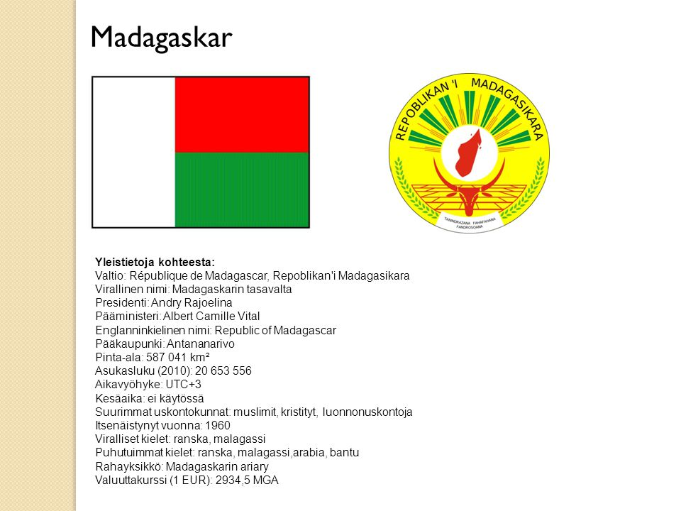Madagaskar Yleistietoja kohteesta: