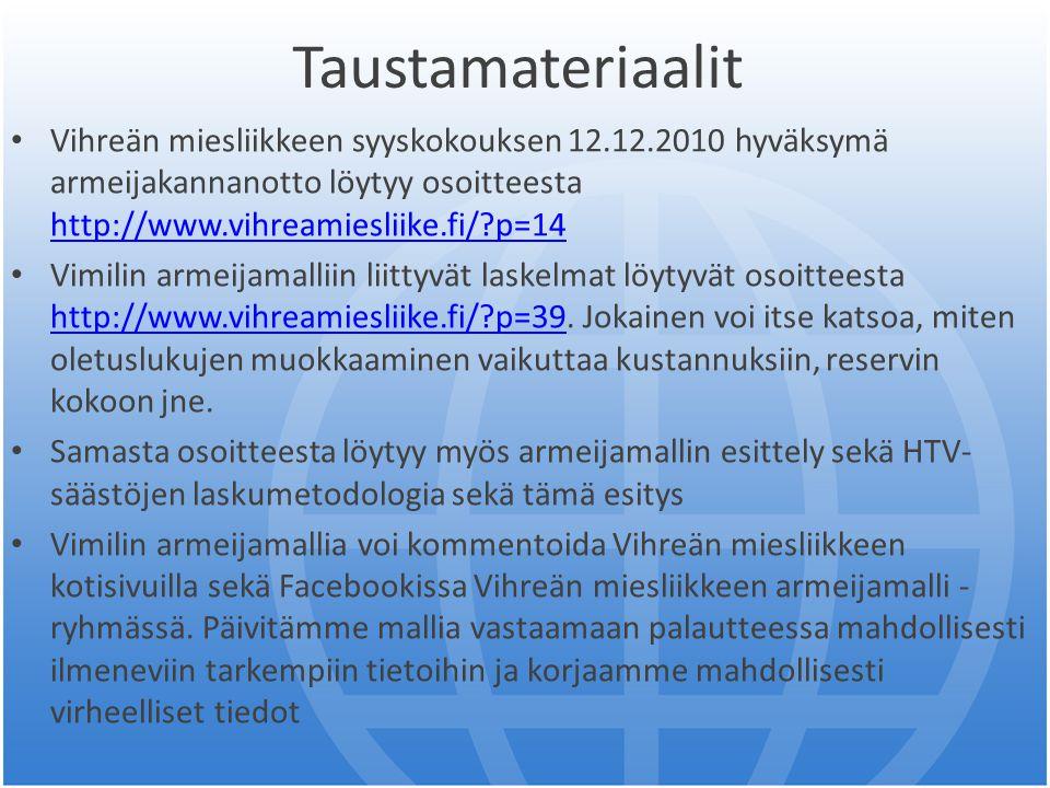 Taustamateriaalit Vihreän miesliikkeen syyskokouksen 12.12.2010 hyväksymä armeijakannanotto löytyy osoitteesta http://www.vihreamiesliike.fi/ p=14.