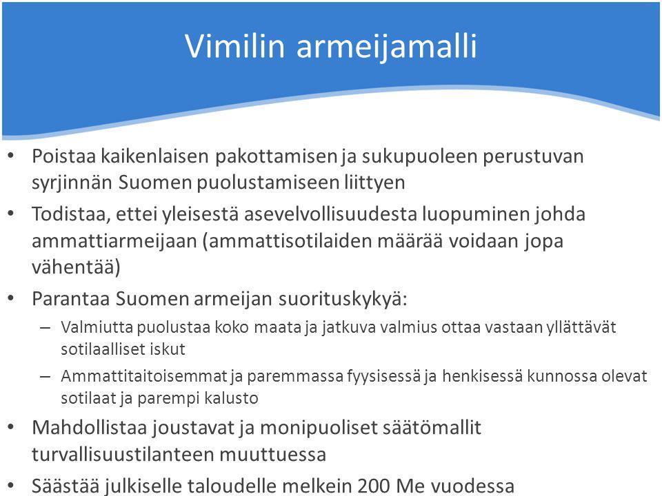 Vimilin armeijamalli Poistaa kaikenlaisen pakottamisen ja sukupuoleen perustuvan syrjinnän Suomen puolustamiseen liittyen.