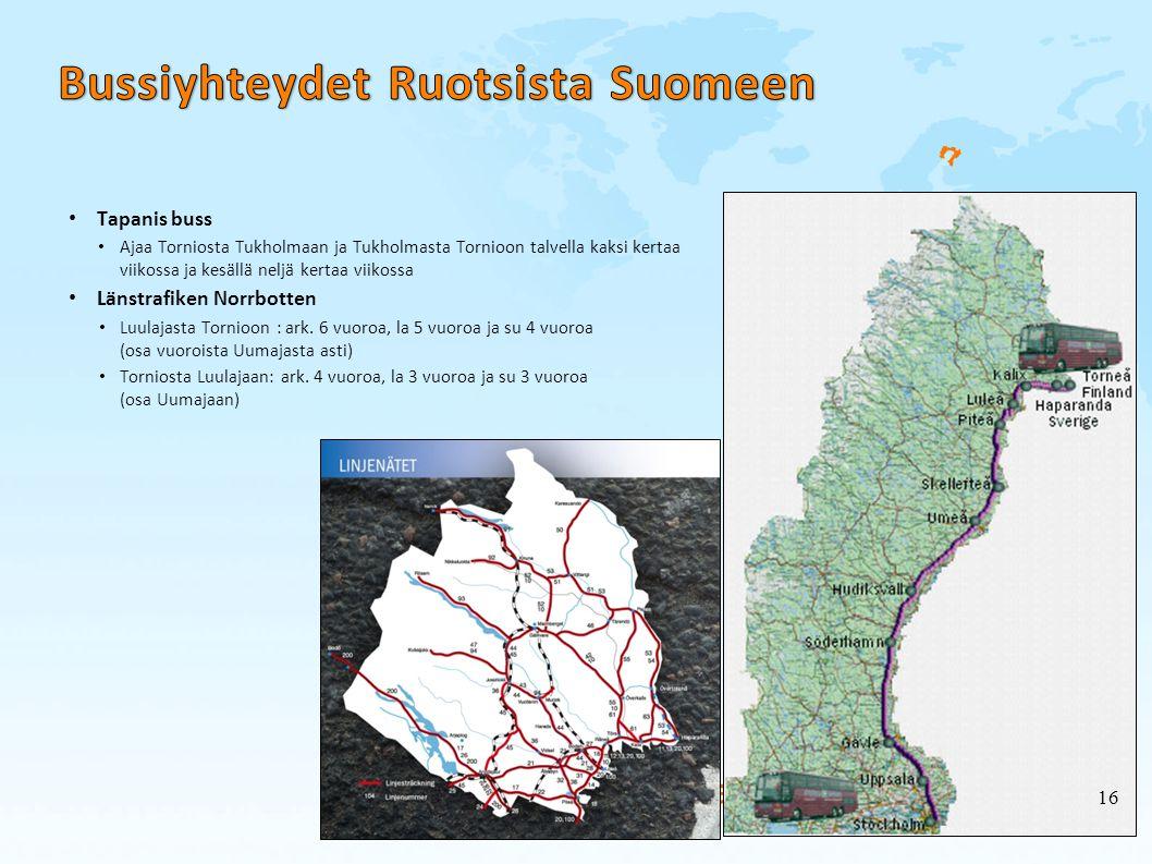 Bussiyhteydet Ruotsista Suomeen