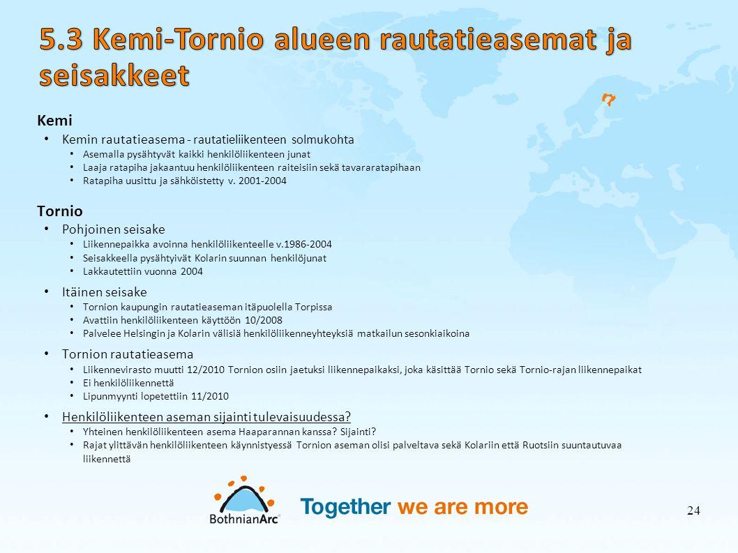 5.3 Kemi-Tornio alueen rautatieasemat ja seisakkeet