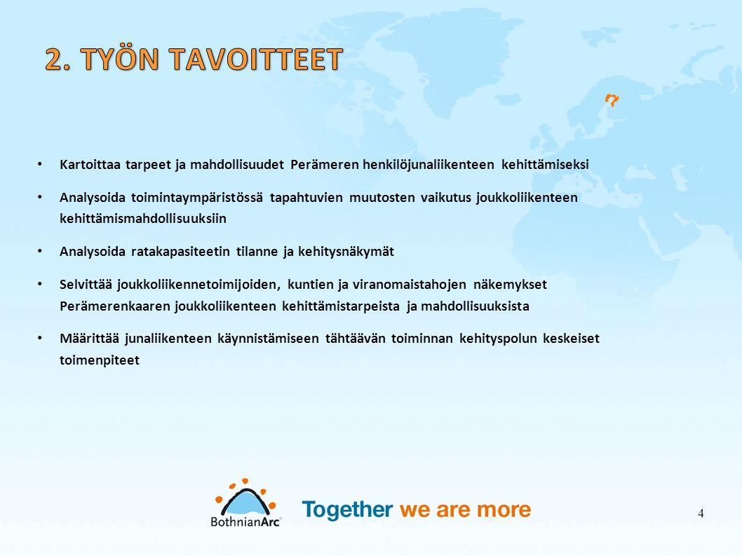 2. TYÖN TAVOITTEET Kartoittaa tarpeet ja mahdollisuudet Perämeren henkilöjunaliikenteen kehittämiseksi.