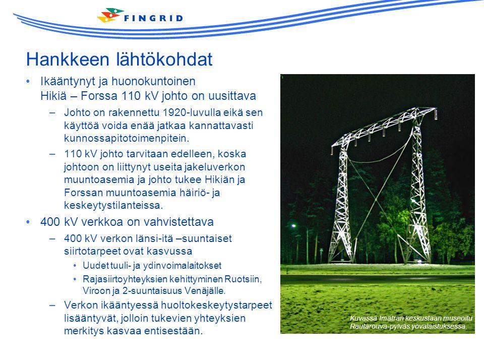 Hankkeen lähtökohdat Ikääntynyt ja huonokuntoinen Hikiä – Forssa 110 kV johto on uusittava.