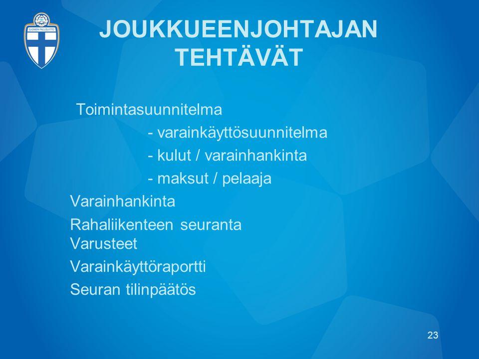 JOUKKUEENJOHTAJAN TEHTÄVÄT