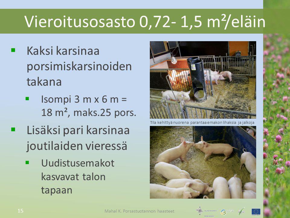 Vieroitusosasto 0,72- 1,5 m²/eläin