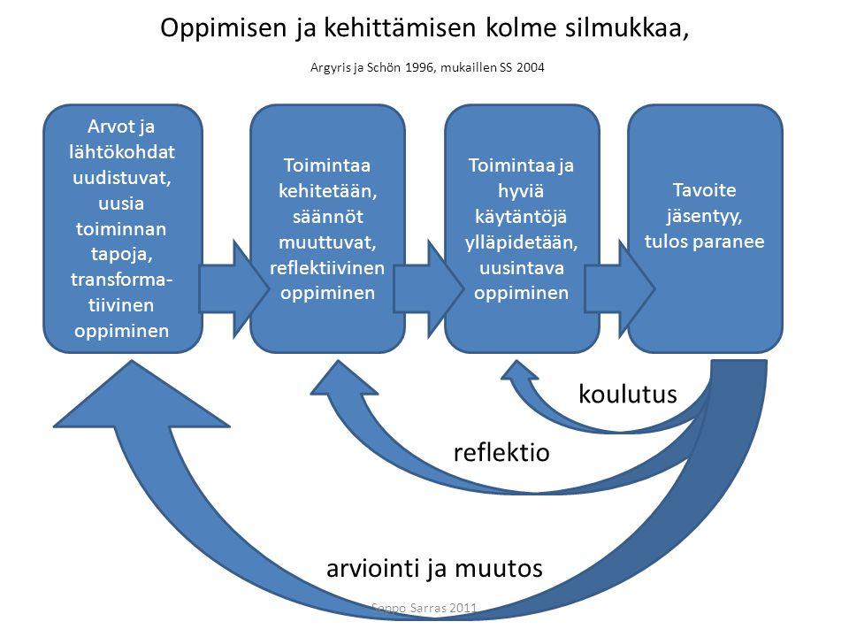 Oppimisen ja kehittämisen kolme silmukkaa, Argyris ja Schön 1996, mukaillen SS 2004