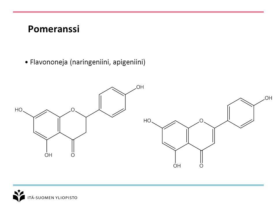 Pomeranssi Flavononeja (naringeniini, apigeniini)