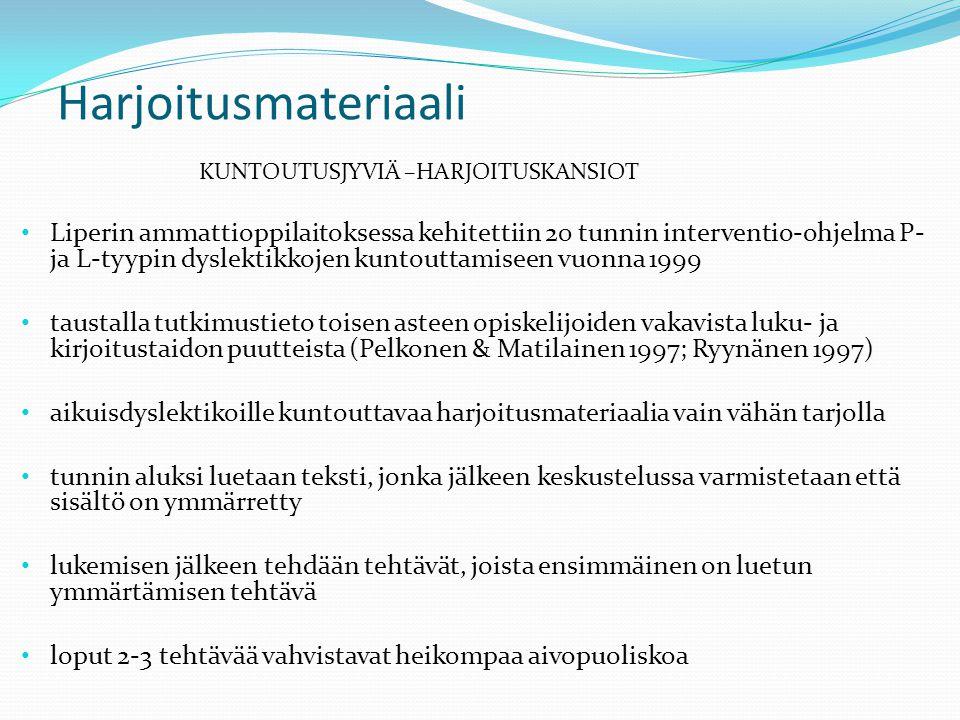 Harjoitusmateriaali KUNTOUTUSJYVIÄ –HARJOITUSKANSIOT.