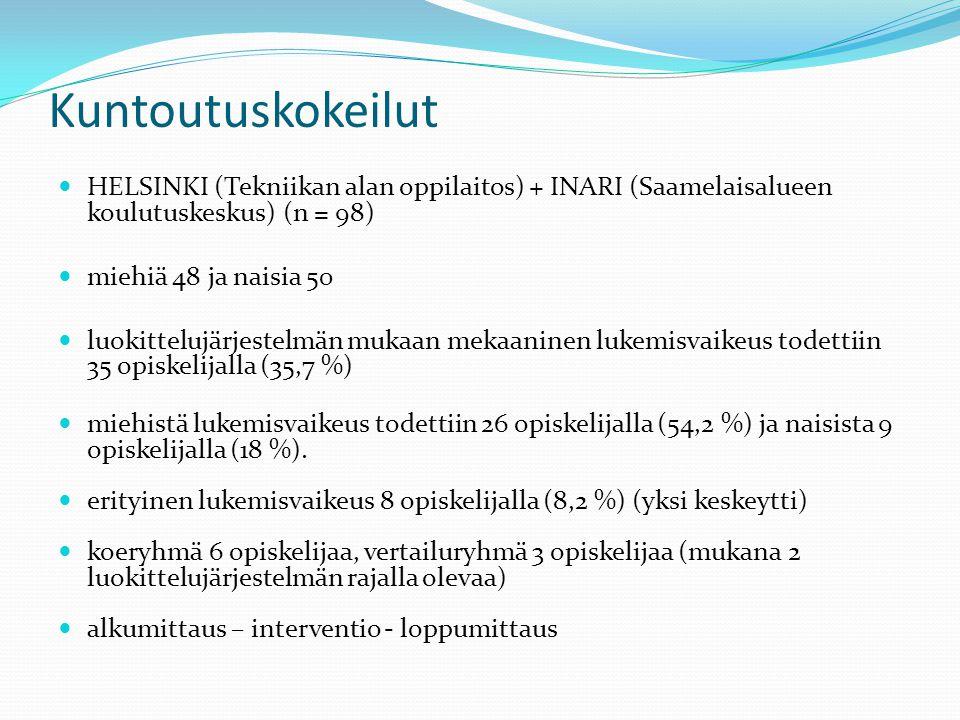 Kuntoutuskokeilut HELSINKI (Tekniikan alan oppilaitos) + INARI (Saamelaisalueen koulutuskeskus) (n = 98)