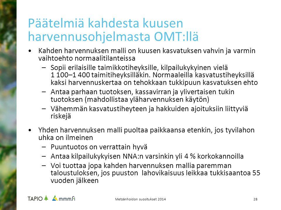 Päätelmiä kahdesta kuusen harvennusohjelmasta OMT:llä