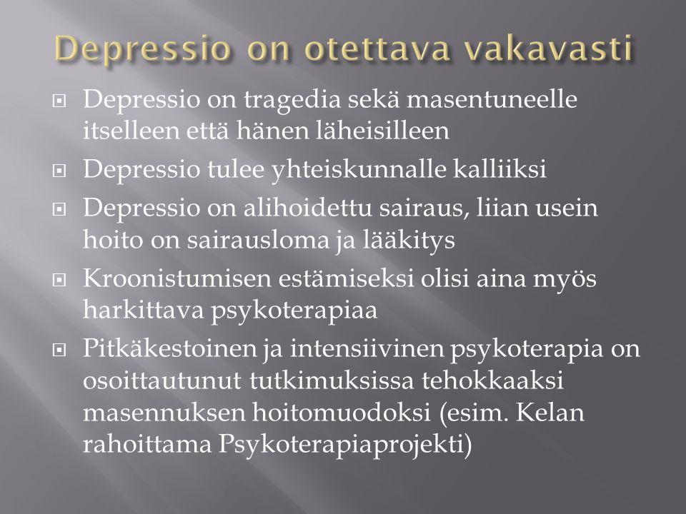 Depressio on otettava vakavasti