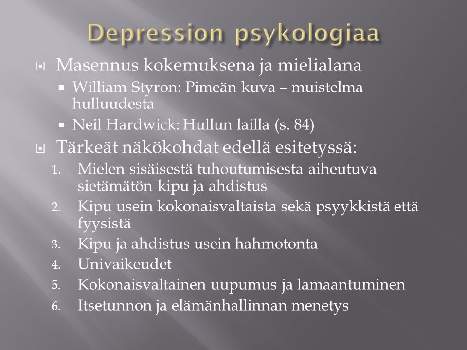 Depression psykologiaa