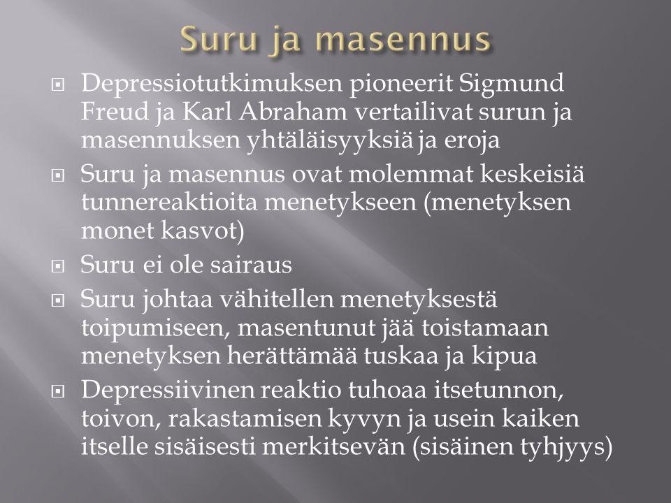 Suru ja masennus Depressiotutkimuksen pioneerit Sigmund Freud ja Karl Abraham vertailivat surun ja masennuksen yhtäläisyyksiä ja eroja.
