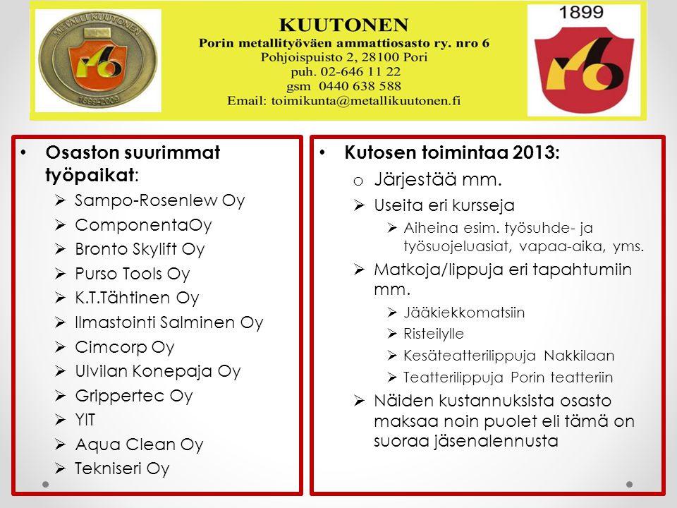 Osaston suurimmat työpaikat: Kutosen toimintaa 2013: Järjestää mm.