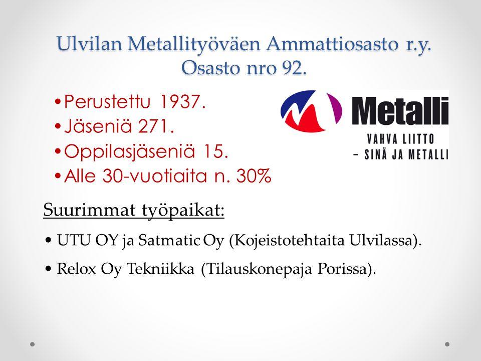 Ulvilan Metallityöväen Ammattiosasto r.y. Osasto nro 92.