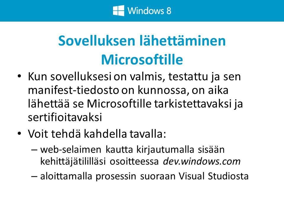 Sovelluksen lähettäminen Microsoftille