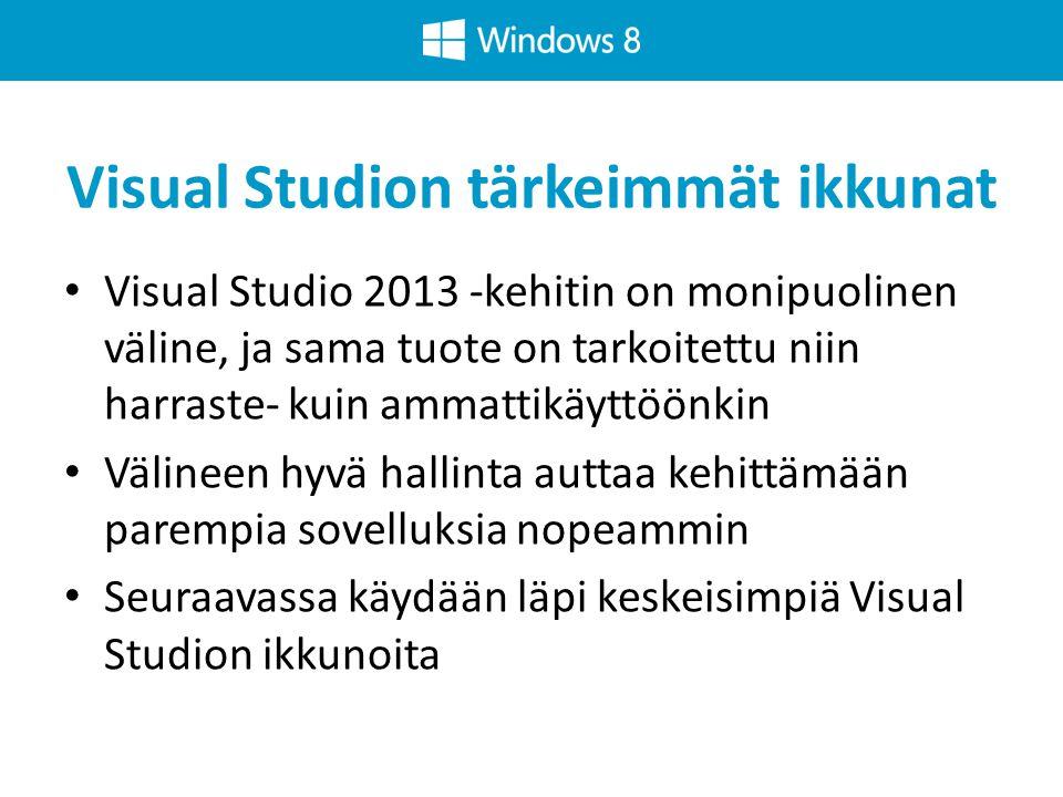 Visual Studion tärkeimmät ikkunat