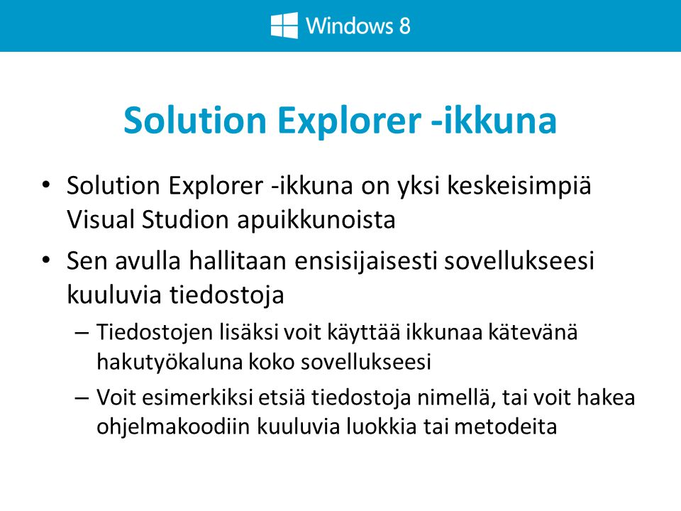 Solution Explorer -ikkuna