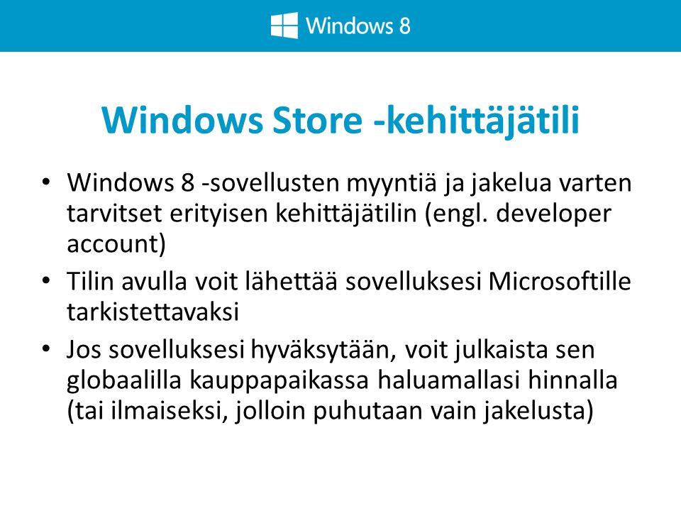 Windows Store -kehittäjätili