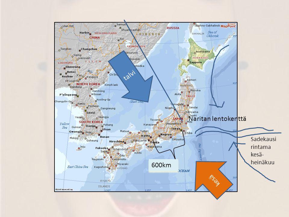 talvi Naritan lentokenttä Sadekausi rintama kesä-heinäkuu kesä 600km