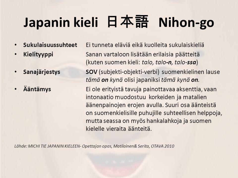 Japanin kieli 日本語 Nihon-go