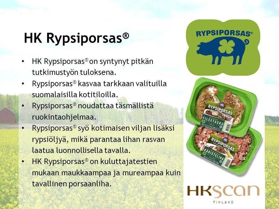 HK Rypsiporsas® HK Rypsiporsas® on syntynyt pitkän tutkimustyön tuloksena. Rypsiporsas® kasvaa tarkkaan valituilla suomalaisilla kotitiloilla.