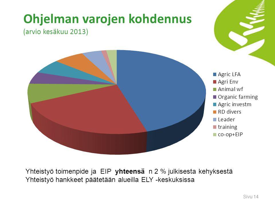 Ohjelman varojen kohdennus (arvio kesäkuu 2013)