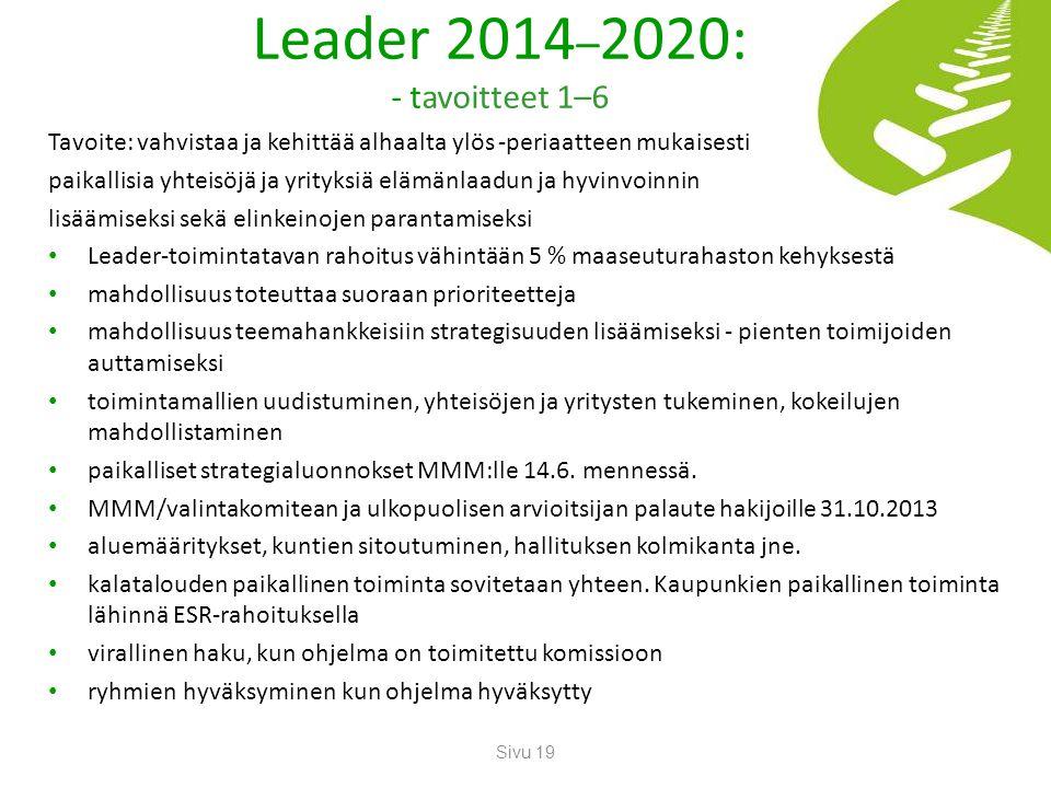 Leader 2014–2020: - tavoitteet 1–6