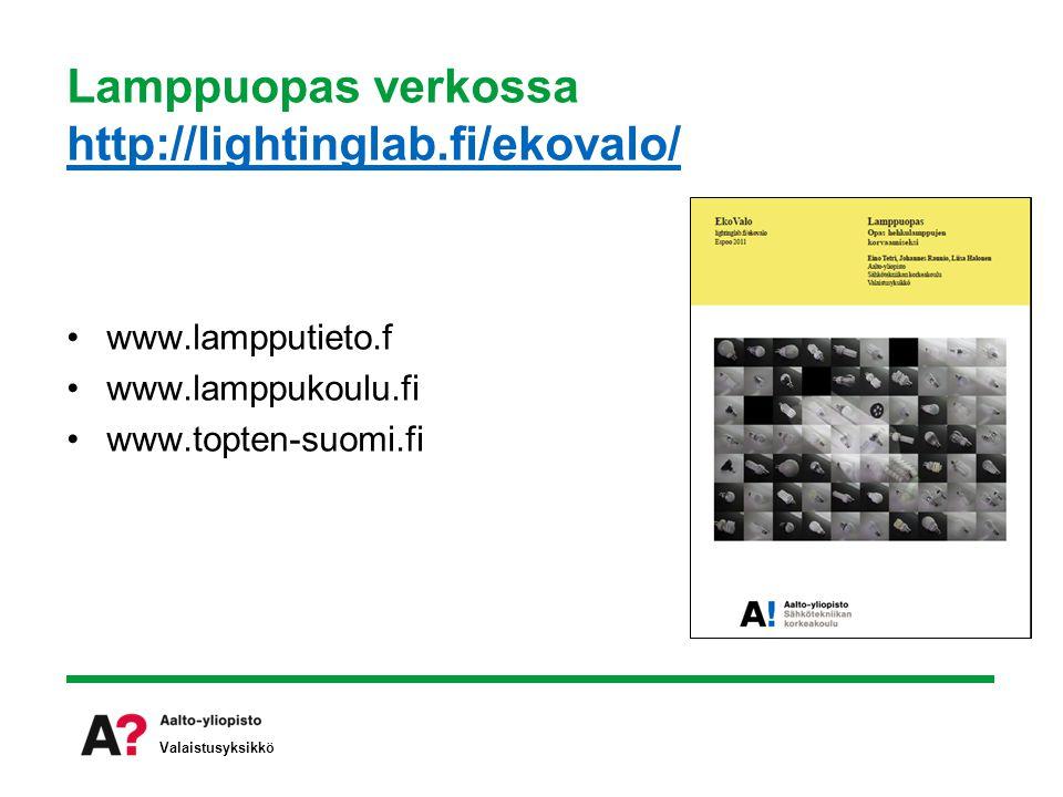 Lamppuopas verkossa http://lightinglab.fi/ekovalo/