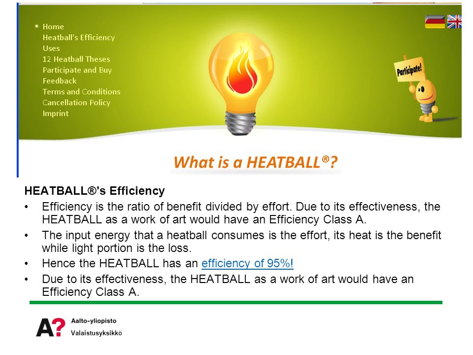 HEATBALL® s Efficiency