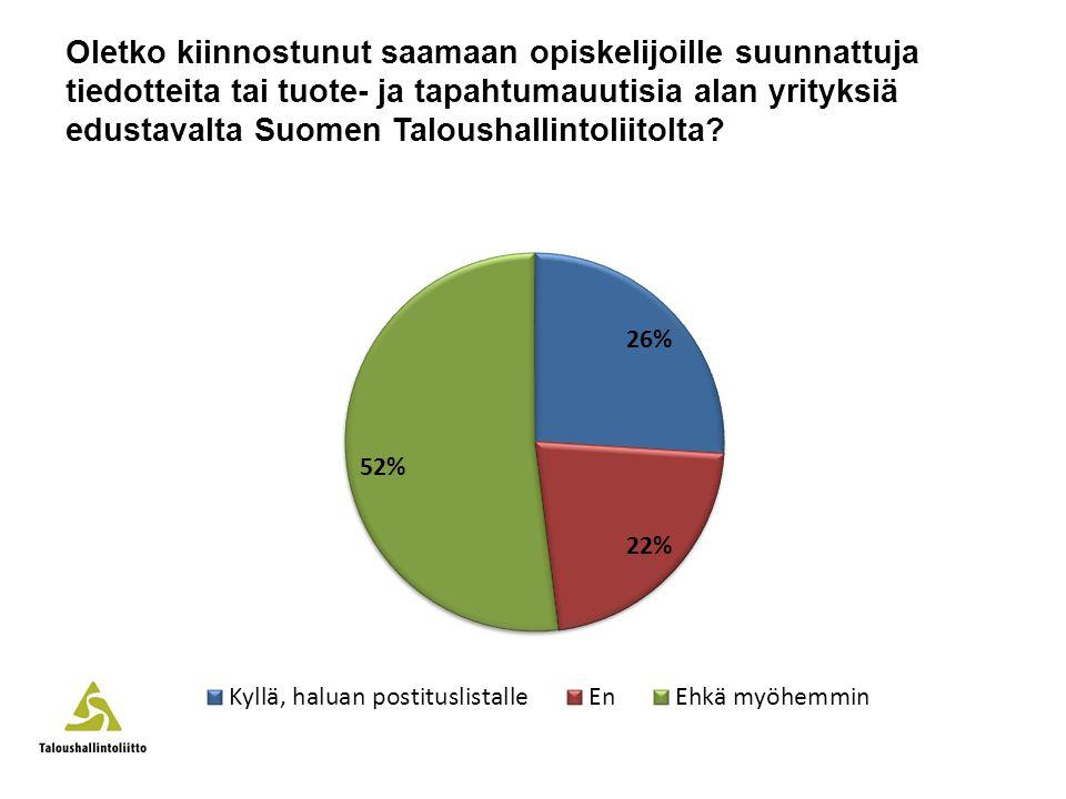 Oletko kiinnostunut saamaan opiskelijoille suunnattuja tiedotteita tai tuote- ja tapahtumauutisia alan yrityksiä edustavalta Suomen Taloushallintoliitolta