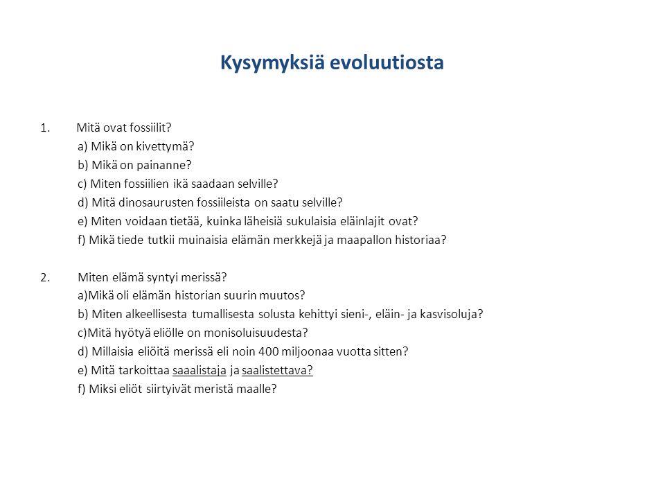 Kysymyksiä evoluutiosta