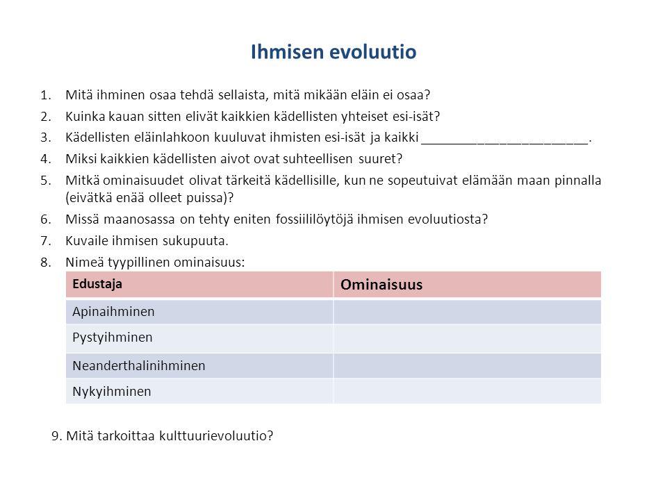 Ihmisen evoluutio Ominaisuus